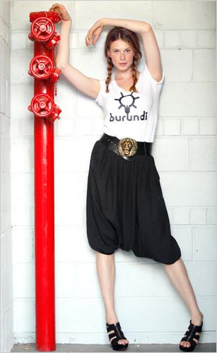 Elettra Rossellini wearing MML6 harem pants